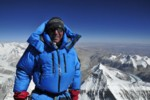 Ed Viesturs celebrates his 7th summit of Mt. Everest, May 19, 2009.