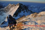 Peter Whittaker and Ed Viesturs make their way towards the summit of Mt. Everest.